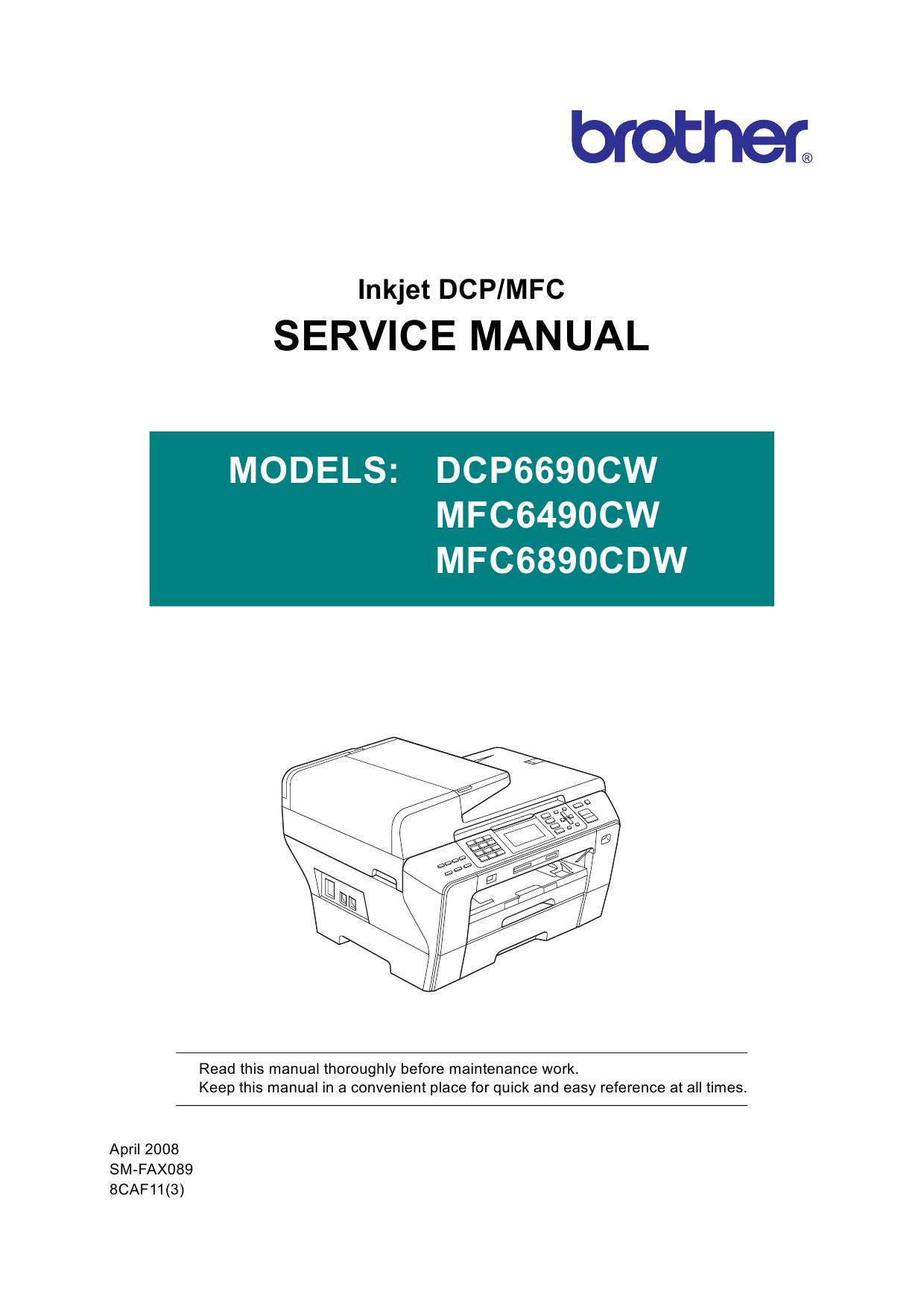 Brother Inkjet-MFC 6490CW 6890CWD Service Manual and Parts-1